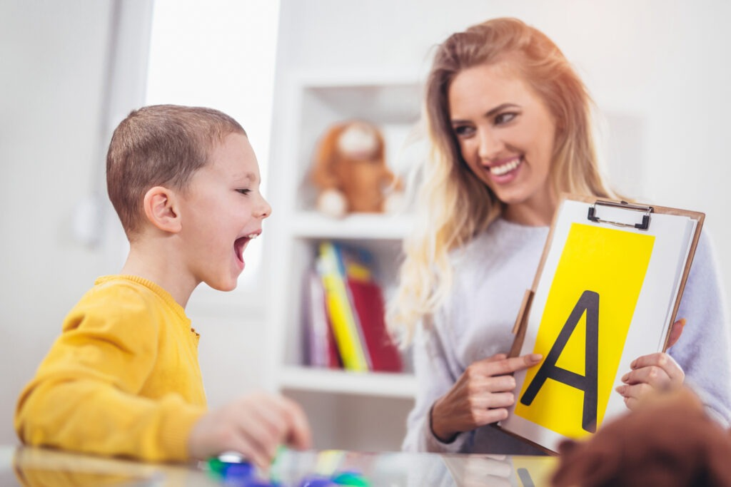 Speech therapy can help children overcome language difficulties.
